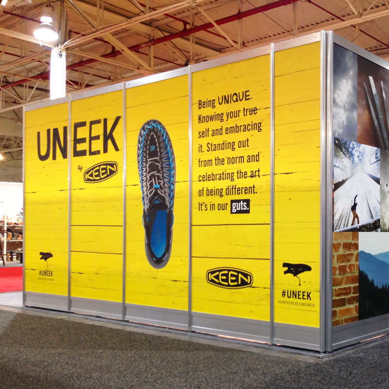KEEN UNEEK Graphics Trade show Booth at Toronto Shoe Show